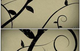 唯美花瓣伸展7 简约枝叶生长动画背景 高清动态视频素材
