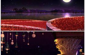 唯美花好月圆 浪漫风铃梦幻LED背景 高清动态视频素材