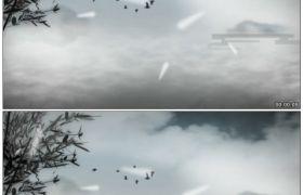 竹露荷风4 水墨竹枝小鸟成群飞舞唯美仙境中国风高清动态视频素材