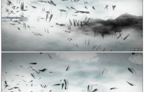 竹露荷风20 水墨竹叶满天飞舞高清动态视频素材