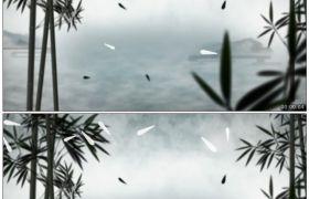 竹露荷风22 水墨中国风竹林竹叶飘落舞台背景 高清动态视频素材