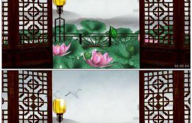 竹露荷风28 古典门窗外的荷花荷莲荷叶 古灯仙鹤高清动态视频素材