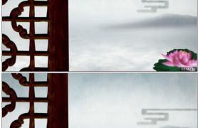 竹露荷风30 古典木窗外荷塘瑶池高清静态视频素材