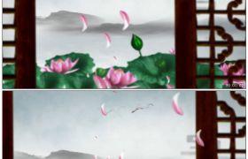 竹露荷風31 古窗外荷花荷塘唯美水墨仙境花瓣飄落高清動態視頻素