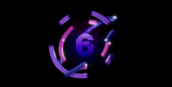 紫蓝色环?#39057;?#35745;时 高清视频素材Rings loop and countdown