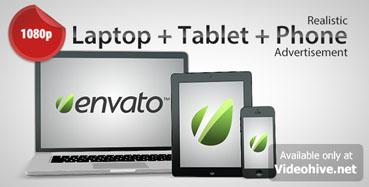 《手机笔记本平板电脑广告AE模板》Laptop + Tablet + Phone