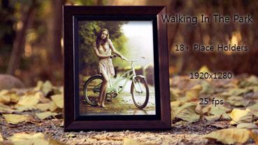 《黄昏公园相框相册展示AE模板》Walking In The Park