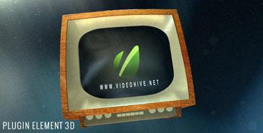 老旧电视机屏幕视频相册旋转展示的AE模板Videohive-Old TV