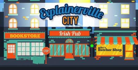 《动画城市图文展示AE模板》Explainerville City