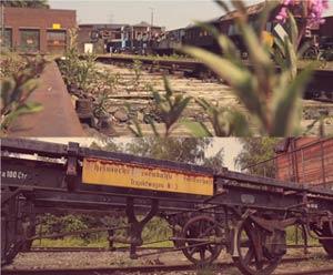 老火车站布满铁锈的老货运列车特写画面