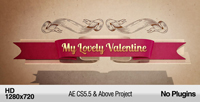 可爱婚礼情人节贺卡展示AE模板 My Lovely Valentine