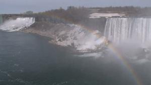 尼亚加拉大瀑布上横亘的彩虹自然景观
