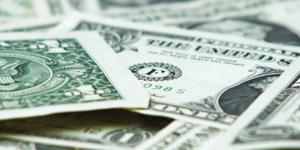 分散的美国纸币特写镜头