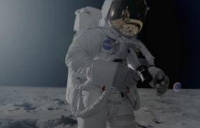 宇航员登陆月球在月球行走的画面 The Moon Landing
