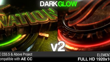 大气黑暗发光金属Logo展示AE模板 Dark Glow Logo Reveal