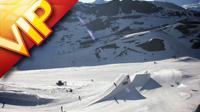 航拍雪山滑雪飞跃雪山极限运动