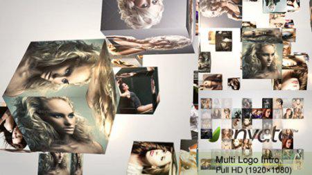 三维立方体照片汇聚电视墙AE模板 Multi Logo Intro