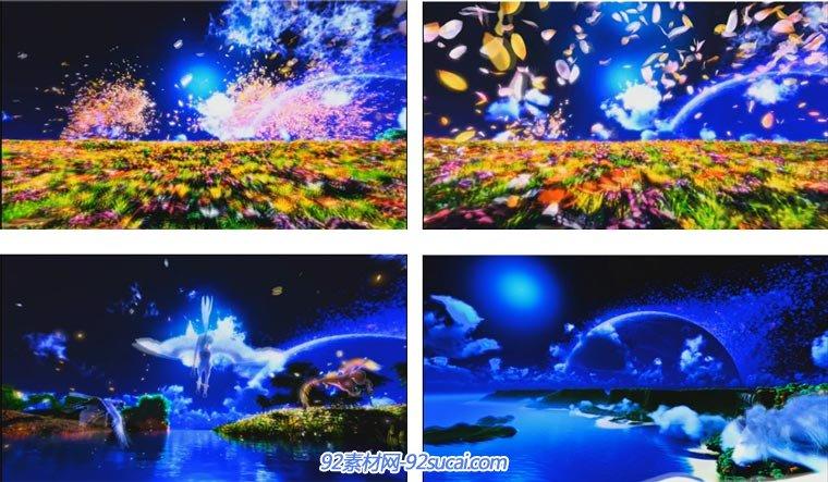 蓝色婚礼花瓣天空飞马唯美仙境动态视频背景