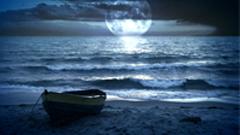 舞台晚会演出月亮小船海水涌动动态视频背景