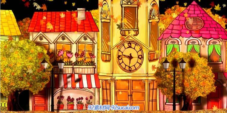 卡通房屋四季交替儿童演出高清动态背景led视频素材