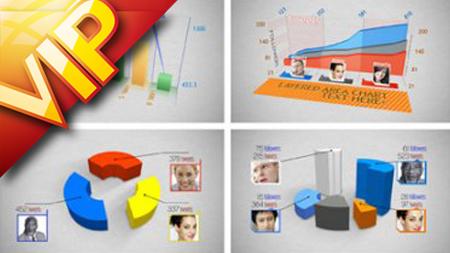三維信息數據圖表AE模板 3D Charts