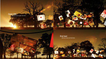 傍晚温馨浪漫的爱情故事照片树电子相册展示AE模板 Photo Tree