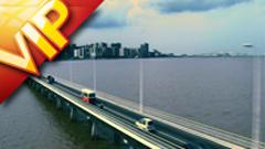港口码头货车运输 公路收费站跨海大桥航拍(正常速度)