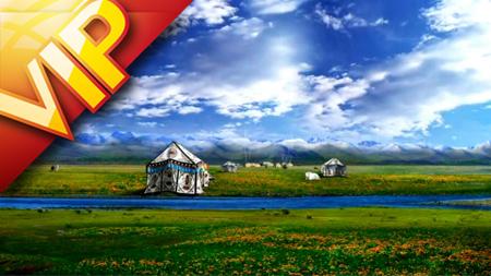 青藏高原云层飘动牦牛群铁路火车高速行驶过风光