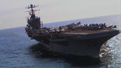 航母海上航行飞机起飞停放在甲板上 高清实拍视频素材