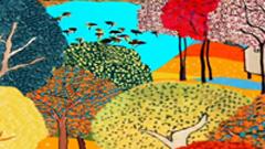 六一儿童节春天返来的燕子树林山村小屋静态素材