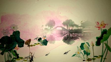水墨晕染中国风 江南水乡蝴蝶花瓣中国风唯美古典LED动态视频背景