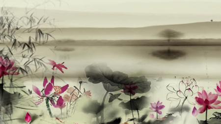 水墨荷花竹子蒲公英中国风古典唯美视频素材