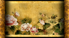 中国风牡丹画卷轴展开牡丹花瓣吹散彩蝶飞舞背景视频