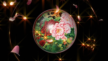 浪漫发光花瓣飘落飞舞 牡丹花图案花圈转场 水晶球标清视频背景