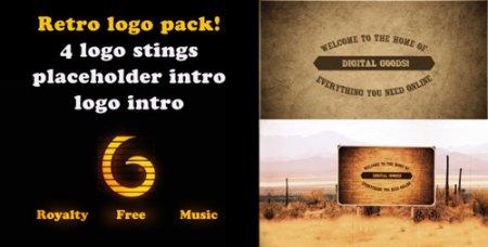 怀旧作风老影戏殊效复古标记动画包AE模板 Retro Logo intro pack