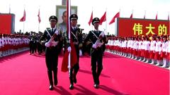 60周年庆典-升旗仪仗队入场军人整齐军姿标清实拍