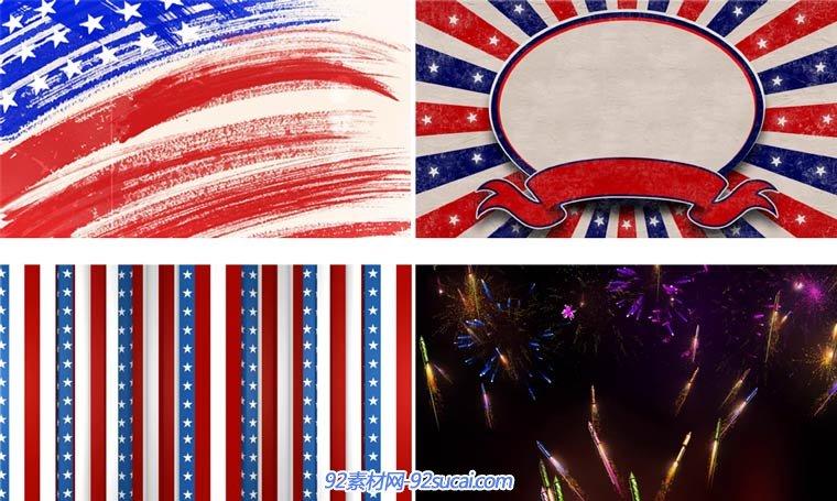 美国星条国旗节日星形烟花气球动态舞台背景-92素材网