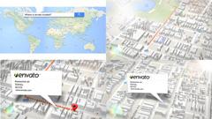 非常强大的三维地图生成定位动画展示AE模板 3d Map Generator