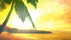 唯美欢快线条荧光蝴蝶沙滩椰林星光花纹动态素材