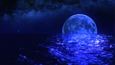 蔚蓝星空明月流星流水荡漾唯美芭蕾舞台背景
