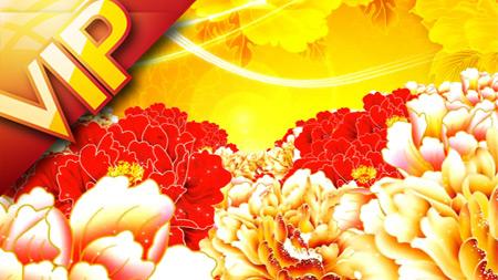中国风大气富贵牡丹国花动漫花开点点星光喜庆新年春节晚会背景