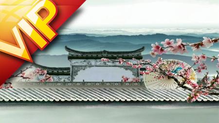 中国风唯美鼓楼山水莲花粉桃水墨纸伞转动动画背景视频素材