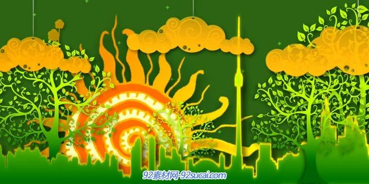 有趣的儿童卡通情景话剧动画类 彩虹城市led舞台演出背景视频素材
