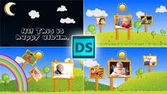 快乐清新儿童欢乐童年卡通电子相册幻灯片AE模板 Happy Children
