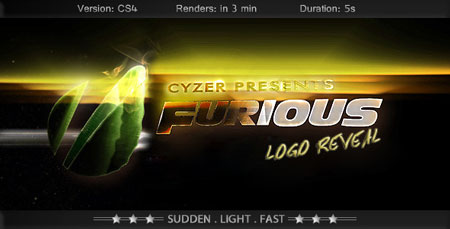 极炫光线Logo标志AE模板Furious Logo-Fast Powerful Simple Reve