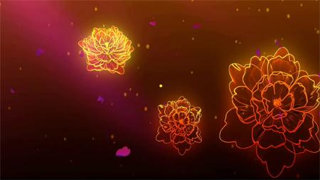 大气金丝牡丹开场唯美金色花开高清动态背景素材