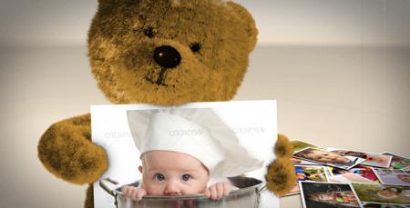 可爱的泰迪熊礼物盒儿童卡通电子相册AE模板 Teddy Presents