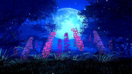 蓝色月亮树影花草丛鲜花开放LED大屏幕舞台背景动态视频素材