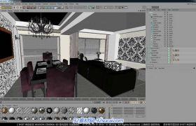 C4D中文室内建模教程19 整理场景、架设摄像机视频教程