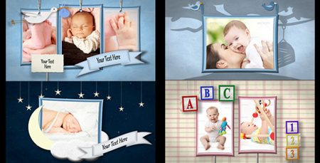 明亮欢快风格儿童动画电子相册幻灯片AE模板 Baby Shadowbox Show